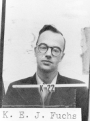 German-born British theoretical physicist who worked with the British delegation at Los Alamos during the Manhattan Project. After Fuchs' confession there was a trial that lasted less than 90 minutes, Lord Goddard sentenced him to fourteen years' imprisonment, the maximum for violating the Official Secrets Act. He escaped the charge of espionage because of the lack of independent evidence and because, at the time of the crime, the Soviet Union was not an enemy of Great Britain.[14] In December 1950 he was stripped of his British citizenship. He was released on June 23, 1959, after serving nine years and four months of his sentence at Wakefield prison. He was allowed to emigrate to Dresden, then in the German Democratic Republic.
