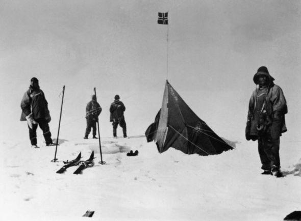 Scott's expedition looks in defeat at the Polheim, the tent camp left at the South pole 33 days earlier by Amundsen's party.