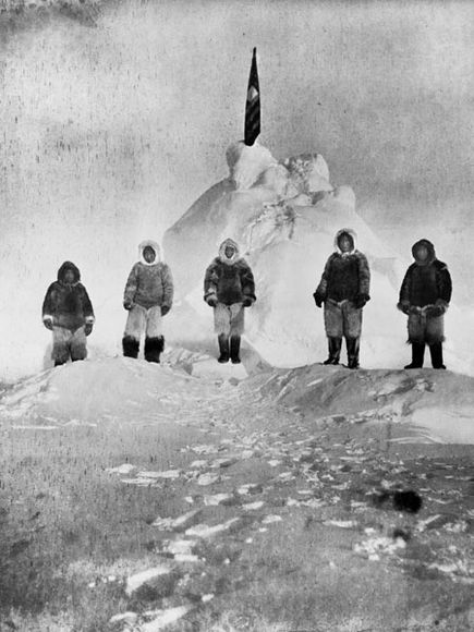 Admiral Robert Peary and crew at what they believed to be the North Pole, 1909