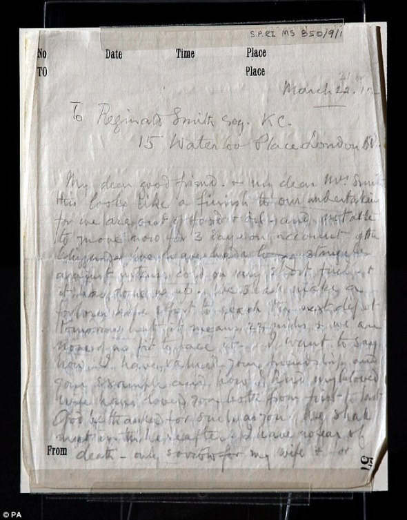The final moving letter written from Captain Scott's doomed South Pole expedition by Sir Edward Wilson
