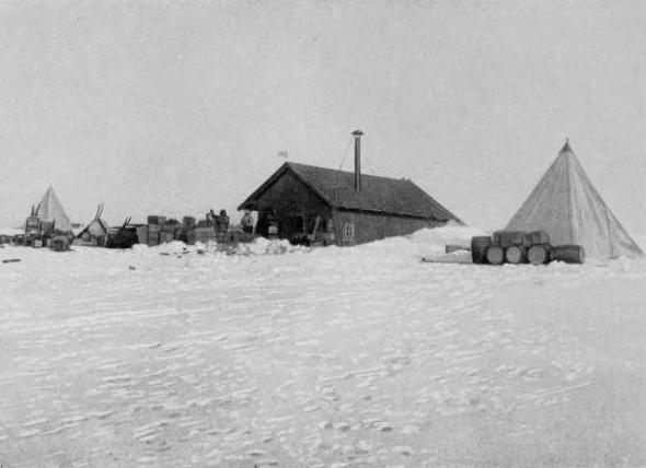 The base at Framheim, February 1911.  Amundsen selected a site for the expedition's main hut, 2.2 nautical miles (4.1 km) from the ship.
