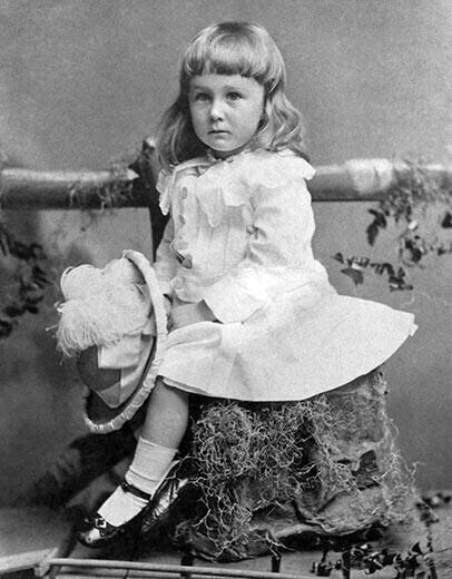 Social convention of 1884, when FDR was photographed at age 2 1/2, dictated that boys wore dresses until age 6 or 7, also the time of their first haircut. Franklin's outfit was considered gender-neutral.