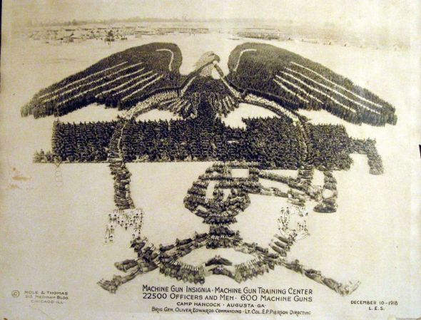 Incredible picture formed by thousands of US Soldiers during WWI Augusta,1918