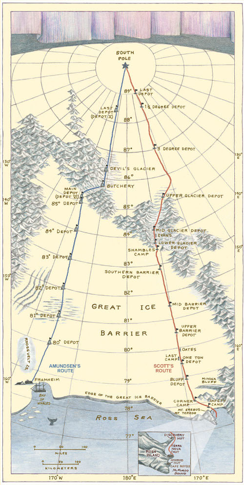 Amundsen's route had never before been taken, but it put his starting point 60 miles closer to the Pole than Scott's.