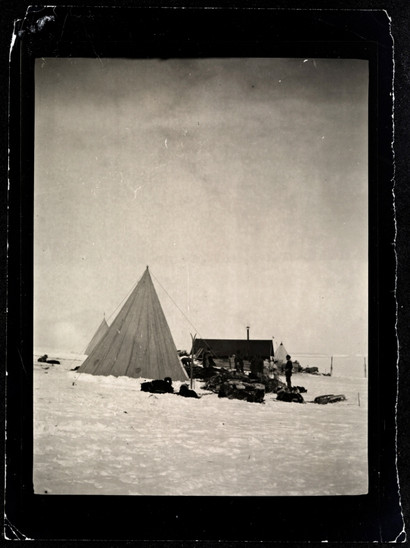 Framheim, Roald Amundsen's base on the Ross Ice Shelf, Antarctica during his quest for the South Pole, 1911-1912. Paper positive print.