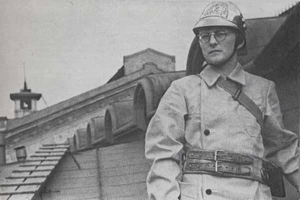 Dimitry Shostakovich as a volunteer firefighter, Leningrad 1941