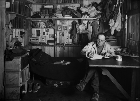Captain Scott in his den, Scott Expedition, Antarctica, by Herbert George Ponting, 1911