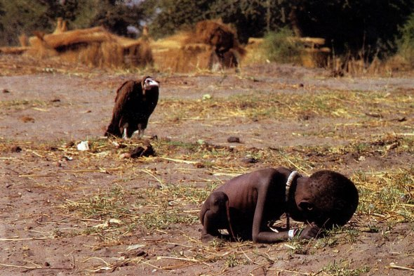 In 1994 South African photojournalist Kevin Carter won the Pulitzer for this photo of a starving child being stalked by a vulture in the Sudan. Later that year Carter committed suicide.