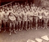 A stable of Japanese sumo wrestlers, circa 1903 t