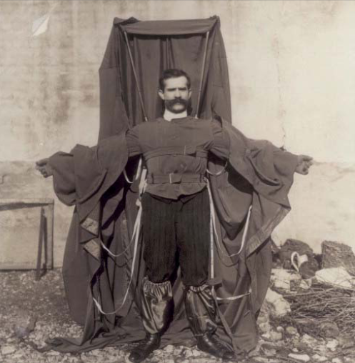 """Hi, I'm Franz Reichelt, and this is parachute trenchcoat"""