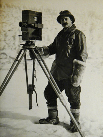 Herbert Ponting with his camera