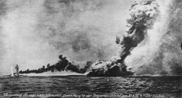 "Translation of the German at the bottom of the photo: ""Destruction of the English battle cruiser ""Queen Mary"" at the battle of Skagerrak [German name for the Battle of Jutland] on May 31st, 1916, 4:26 in the afternoon."""