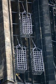 Cages of the leaders of the Münster Rebellion at the steeple of St. Lambert's Church