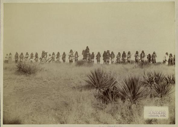 Photo of Geronimo and his warriors, taken before the surrender to Gen. Crook, March 27, 1886, in the Sierra Madre mountains of Mexico
