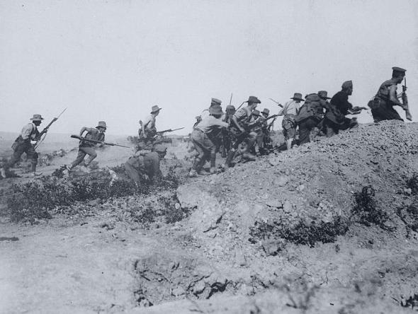 ANZAC troops charging at Gallipoli, 1915.