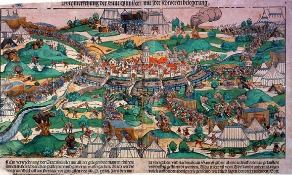 This image of Erhard Schoen shows the first major attack on the city Pentecost 1534,