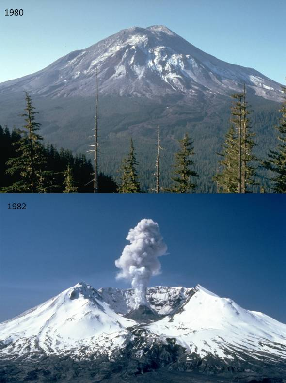 Mount St. Helens before and after its eruption.