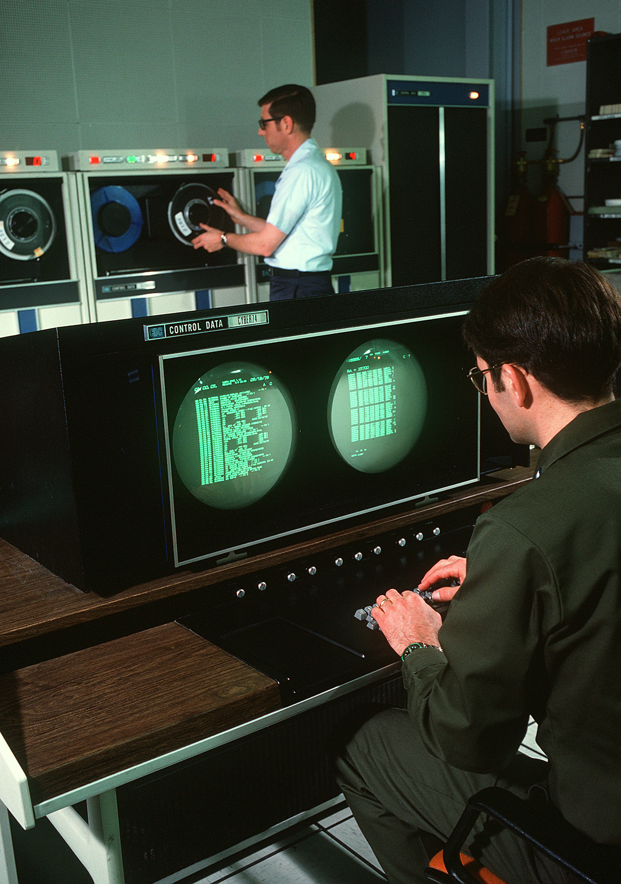Personnel inside the data processing center for COBRA DANE, an