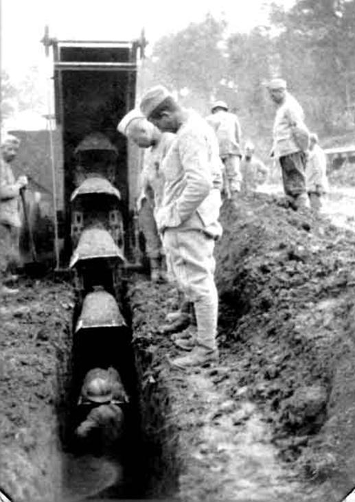The digging was moving away from the solider. A Trencher like that moved backwards as it digs.