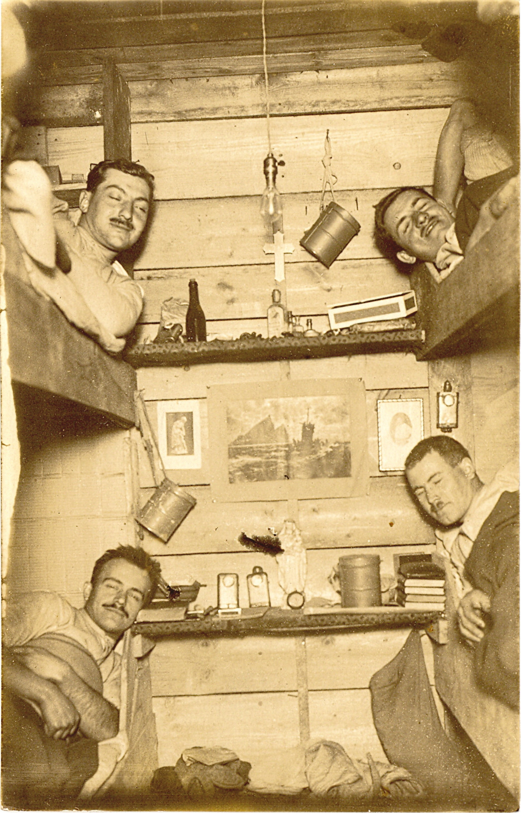 Four German Soldiers In Bunk Beds Who Had Been Woken Up For A