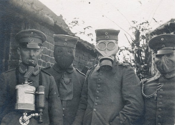 German soldiers wearing four different types of gas masks that were used in the early years of World War 1, c. 1916. [1656x1190]