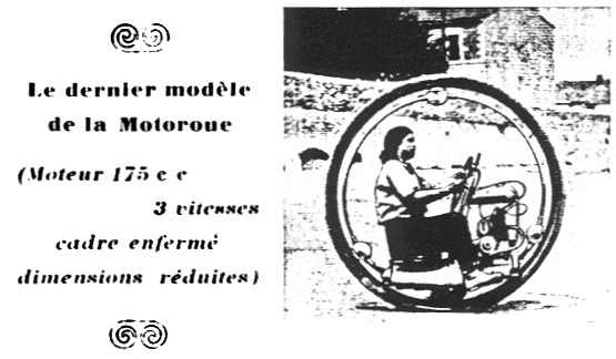 "French advertisement. ""The Latest Model of Motorwheel. 175cc engine, three gears, frame reinforced, size reduced"""