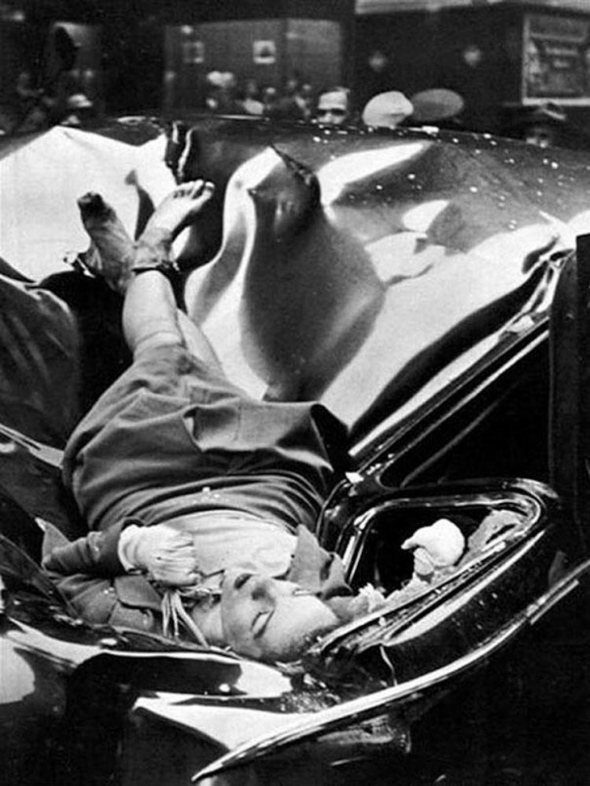 "The woman in the photo was 23-year-old Evelyn McHale. ""At the bottom of Empire State Building the body of Evelyn McHale reposes calmly in grotesque bier her falling body punched into the top of a car."""